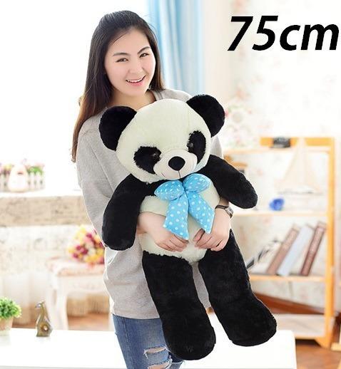 Panda Laço Azul Grande Pelúcia Ursinho 75cm Alta Qualidade
