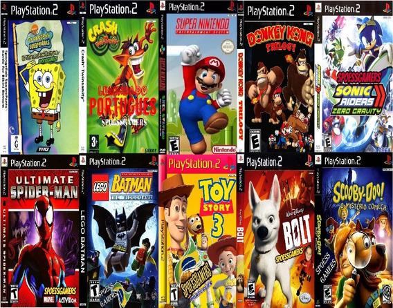 10 Jogos Ps2 Mario Crash Sonic Bob Esponja Lego Bolt Spider