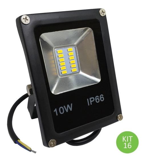 Refletor Led Smd 10w Verde Ip66 Bivolt Kit 16