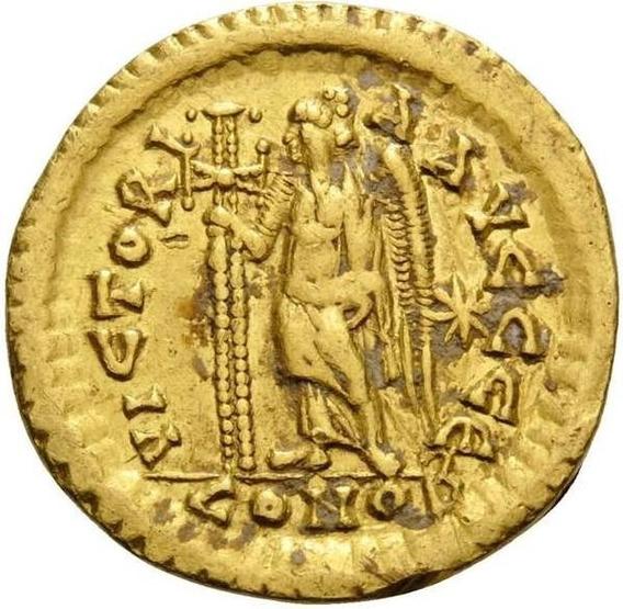 Moeda Bizantina Leo I, 457-474. Solidus (ouro - Certificada)