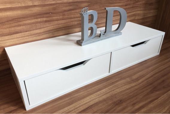 Criado Mudo Escrivaninha Suspensa 60x15x40cm Mdf Branco