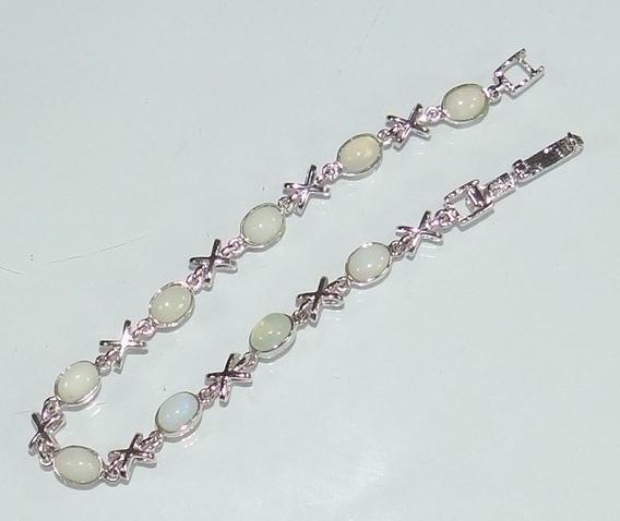 Pulseira Em Prata Com Pedras De Opala Branca Natural Linda!!