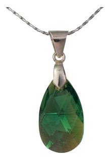 Collar De Plata Con Swarovski Verde