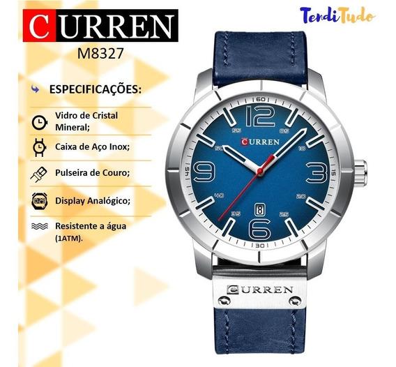 Relógio Masculino Curren 8327 Azul - Caixa De Aço