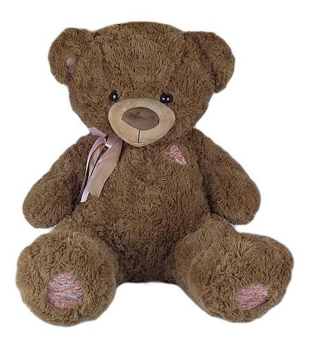 Imagem 1 de 3 de Urso De Pelúcia 90cm Marrom Coração Bordado Gigante Gg