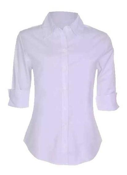 Camisa Camisete Feminino Manga 3/4 Liso Branco Promoção