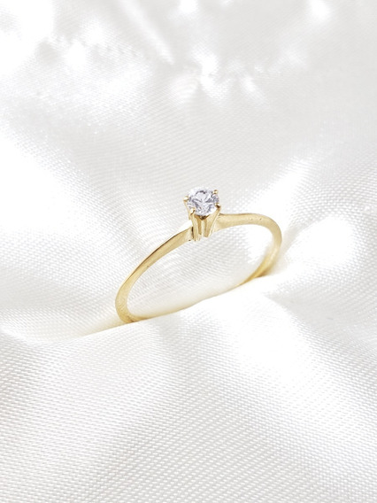 Anel Solitário Ouro Amarelo Com Diamante 08 Pontos Extra