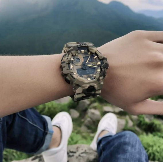 Reloj Smael Camuflaje Militar Color Caqui Resistente Al Agua