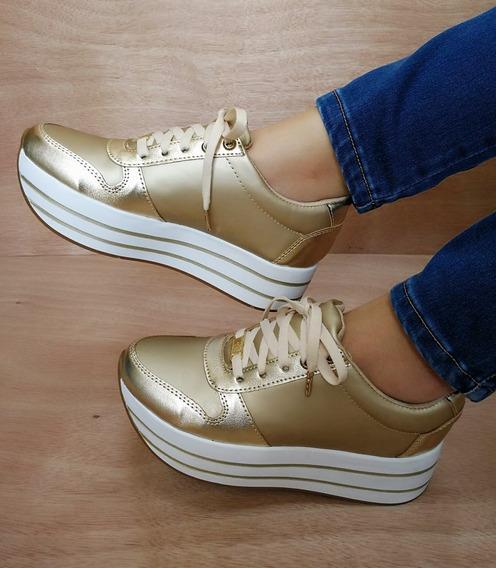 Zapatos Tenis De Plataforma Color Dorado Dama Moda Y Estilo.