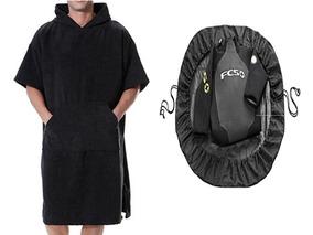 Kit Poncho Roupão E Wet Bag Saco De Surf Preto Adulto P