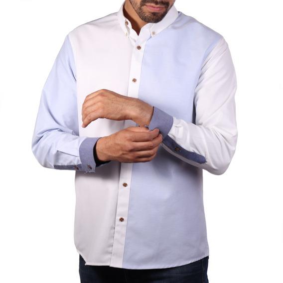 Camisa Paolo Cielo Blanco Regular Fit Algodón Envío Gratis