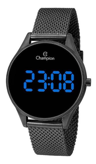 Relógio Feminino Preto Champion Digital Led Azul Original