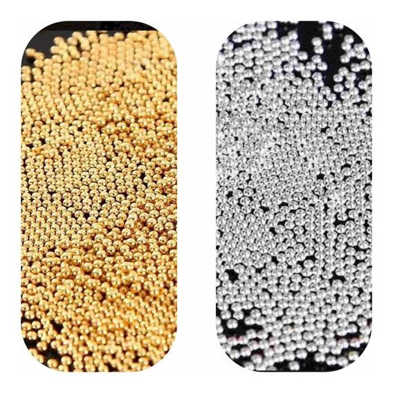 40gr Caviar Metal Para Jóias De Unhas 1mm Dourado E Prata