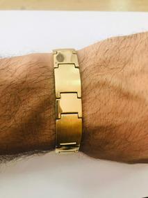 Pulseira Bracelete Placa Ouro 18k 750 Masculina Grossa