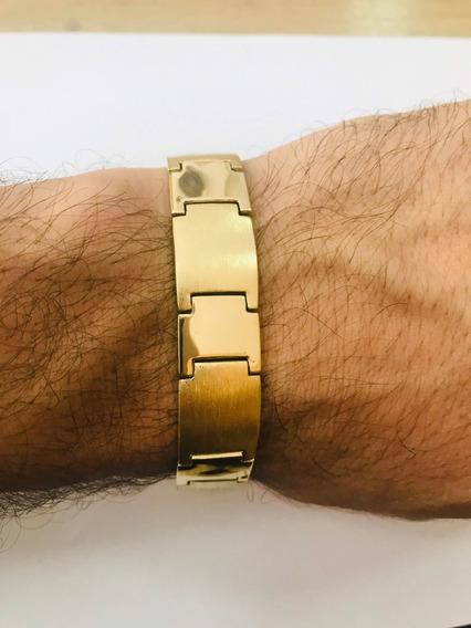 Pulseira Bracelete Placa Ouro 18k 750 Masculina Grossa Trabalhada