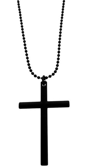 Colar Masculino E Pingente Crucifixo Aço Banho Ródio Negro
