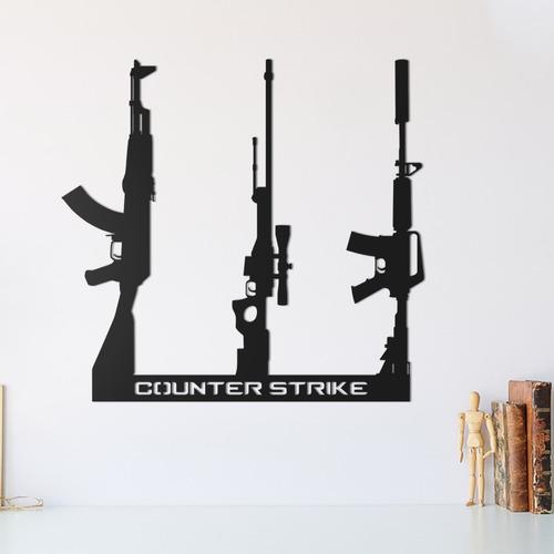 Quadro Decorativo Parede Trio Armas Cs Ak-47 M4a1-s Awp 30cm
