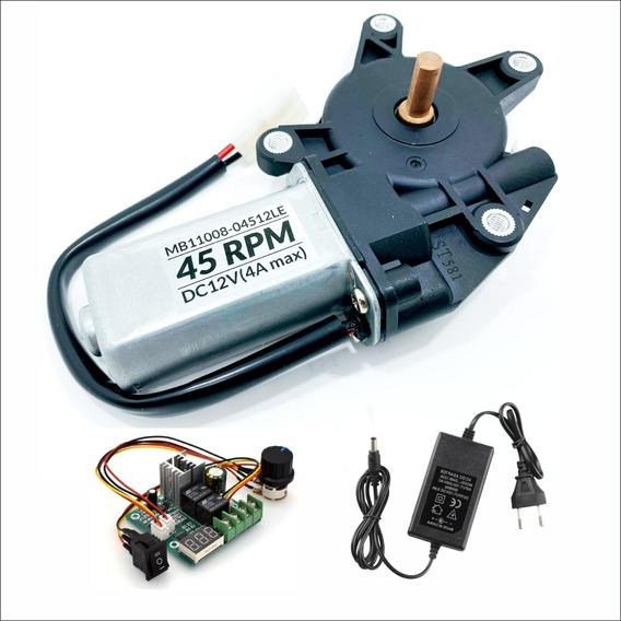 Motor 12v Dc 45 Rpm Com Redução + Fonte 12v 5a + Controlador
