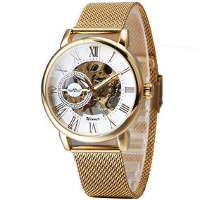 Relógio Winner Mecânico Winner Strap Thin Gold Skeleton