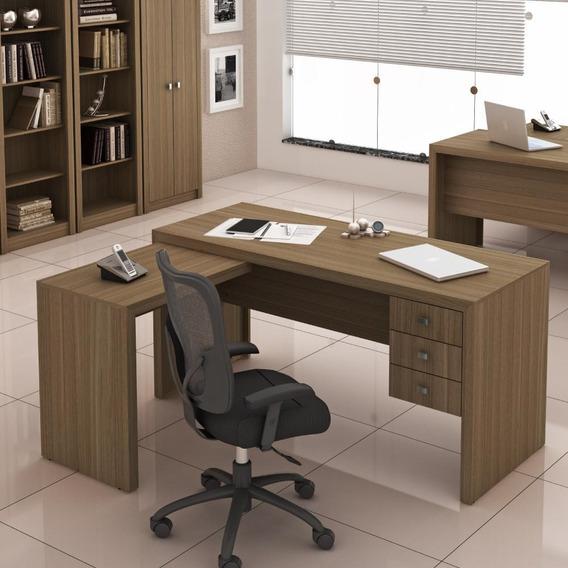 Mesa De Escritório Em L 3 Gavetas Me4106 Tecno Mobili - Amên