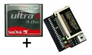 Kit 3 Adap. Cf X Ide Fêmea + Cartão Compact Flash 4gb Slc