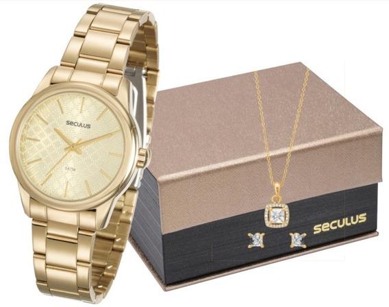 Relógio Feminino Dourado Seculus Com Corrente E Brincos