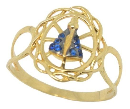 Anel Ouro 18k Nossa Senhora Aparecida Jsp0241