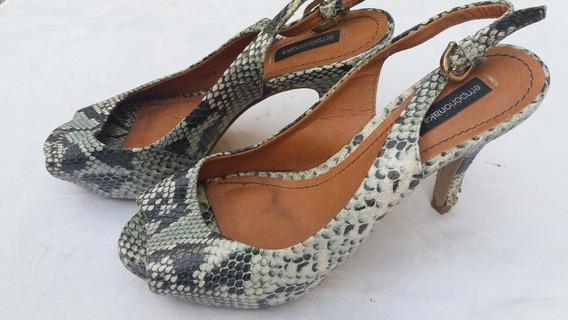 Sapato Alto Meia Pata Cobra - Peep Toes - 34 - F&s