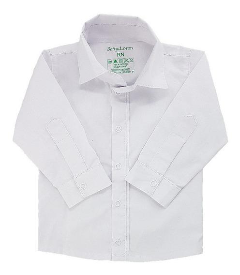 Camisa Social Botão Bebê 100% Percal 200 Branco Menino Liso
