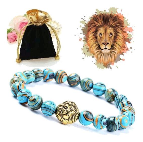Pulseira Pedra Natural Mineral Malaquita Azul Leão Dourado