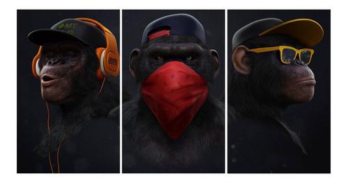 Imagem 1 de 2 de Quadro 150x80 Mosaico Gangue Dos Macacos Com 3 Peças Mod 101