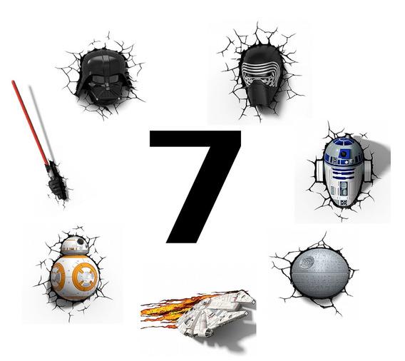 Kit 7 Luminárias Star Wars 3d - Darth, Kylo, Bb8 E Muito+