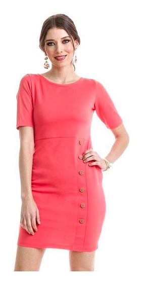 Vestido Dama Coral Devendi Con Botones Decorativos