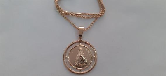 Colar Cordão E Medalhão De Nossa Sra Aparecida Folheado Ouro