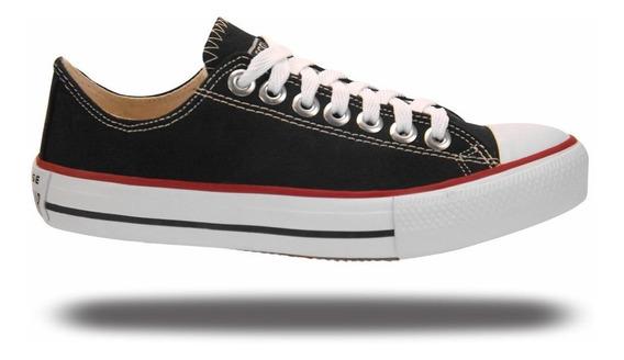 Tenis All Star Converse Branco/preto Lona Tecido/couro