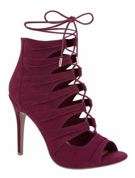Zapatillas Botines #24.5 Color Vino Elegantes Para Fiesta