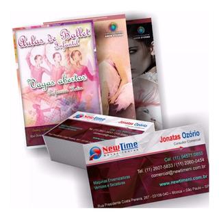 2500 Panfletos 10x14 | 500 Cartão Visita Fosco Verniz Local