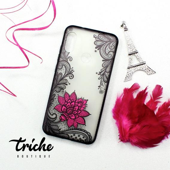 Funda Case Encaje Negro Flor Rosa Mandala Xiaomi Mi A2 Lite