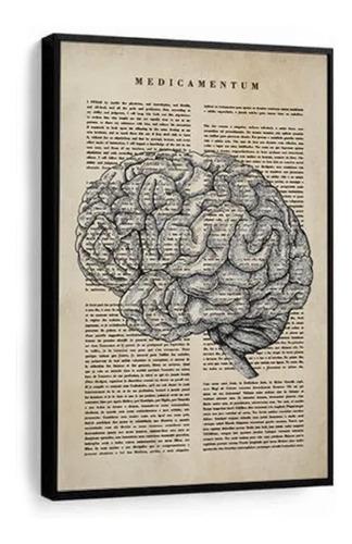 Quadro Decorativo Medicina Juramento Cérebro Fundo Bege
