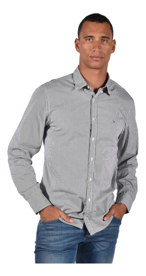 Camisa Regular Fit Tommy Azul Mw0mw06776-902 Hombre