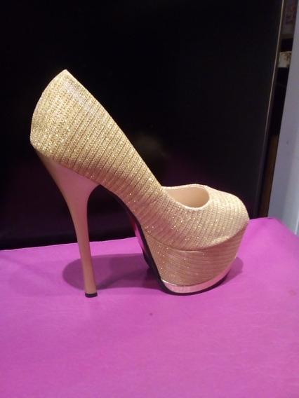Zapato Dama Fiesta Dorado Taco Aguja 16 Cm Talle 37,39,40