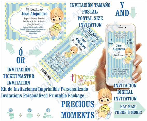 Precious Moments Invitaciones Imprimibles + Digital Bautizo