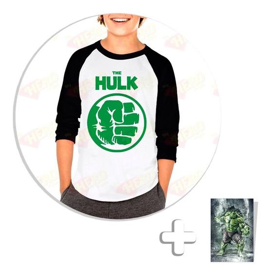 Envío Gratis Playera Raglan Niño Hulk + Sticker