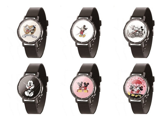 Relógio De Pulso Feminino Mickey Mouse Preto Vários Modelos