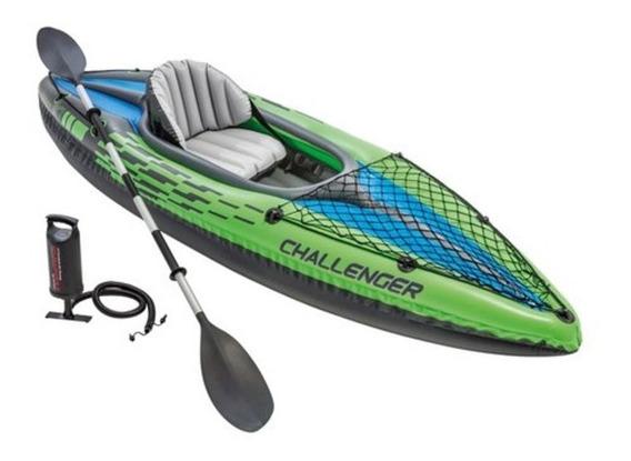 Kayak Inflable Challenger Individual Con Remo Y Bomba Intex