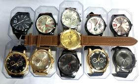 Kit Com 12 Relógios Masculino Pulseira De Couro + Caixa
