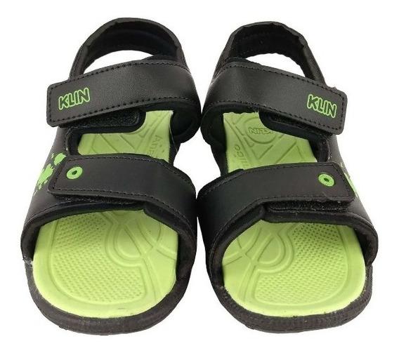 Sandalia Infantil Klin Masculina Tic Tac Preta C/ Verde