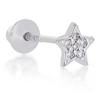 Piercing Em Ouro Branco 18k Orelha Estrela Com Diamantes Ac0