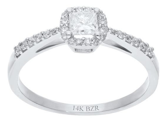 Anillo Bizzarro De Oro Blanco 14k Con 44 Pts De Diamante