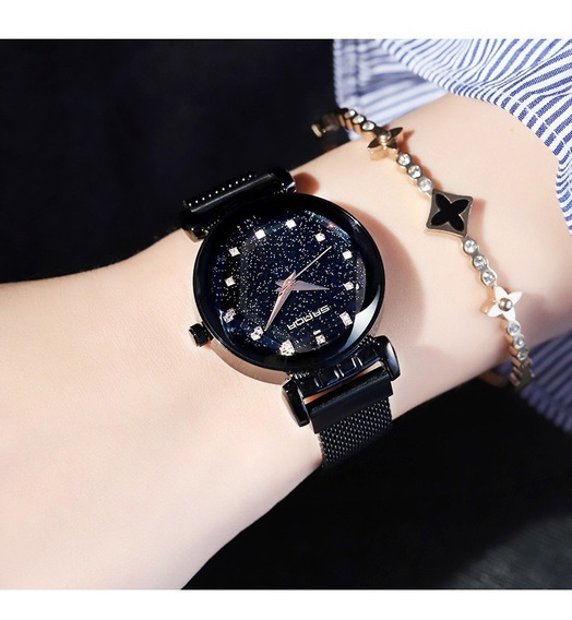 Promoção Relógio Feminino Pulseira Magnética Strass Preto